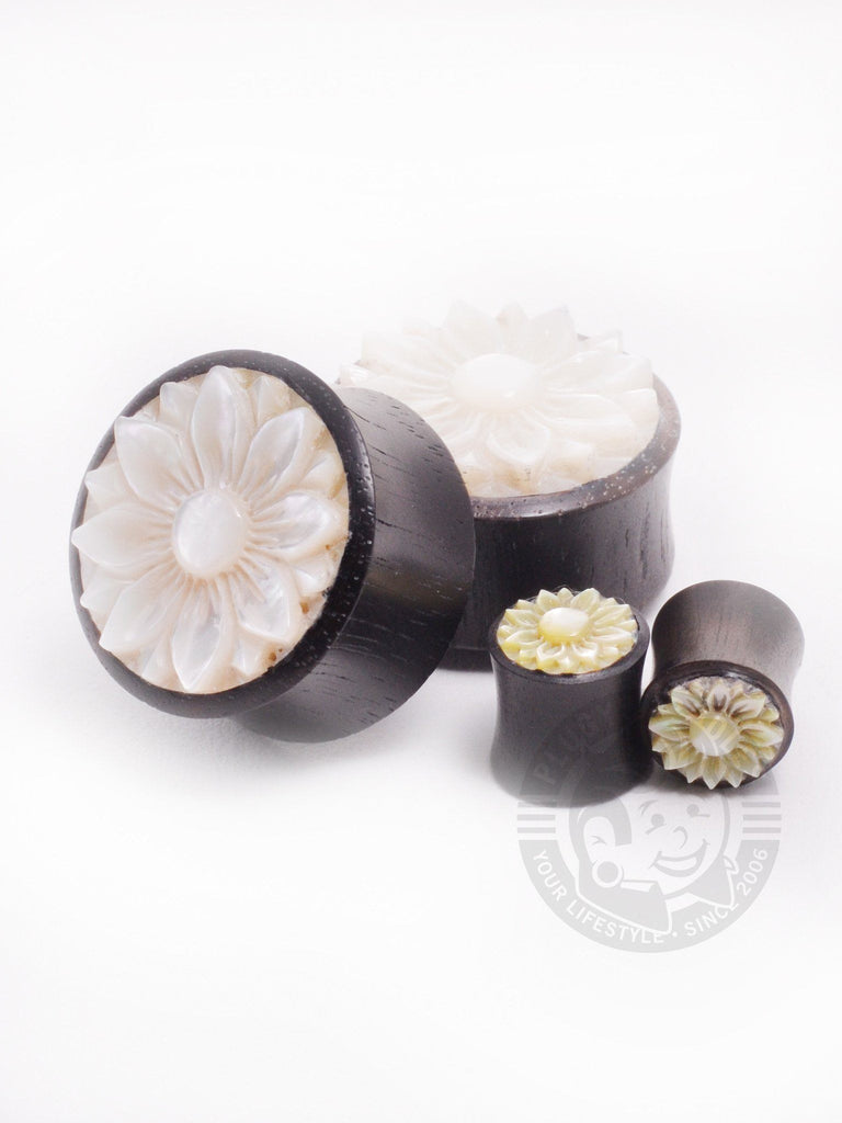 Lotus Flower Carved Mother of Pearl Ebony Wood Plugs - Plug Your Holes - Your Lifestyle, Since 2006.  - 2