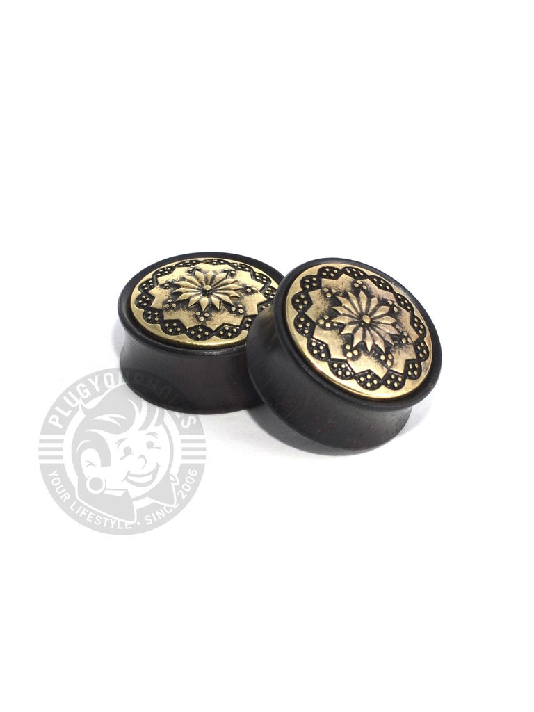 Antique Floral Ebony Wood Plugs - Plugyourholes.com