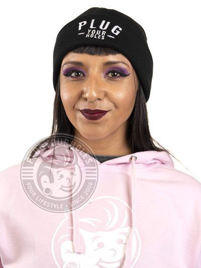PlugYourHoles Stacked Street - Black Cuffed Beanie