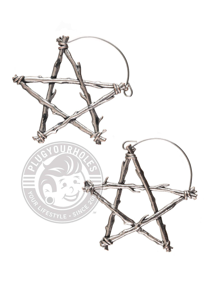 Pentagram Dangle Hoop Steel Earrings