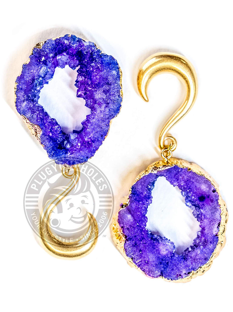 Purple Crystalized Geode Slice Gold Hook Hangers