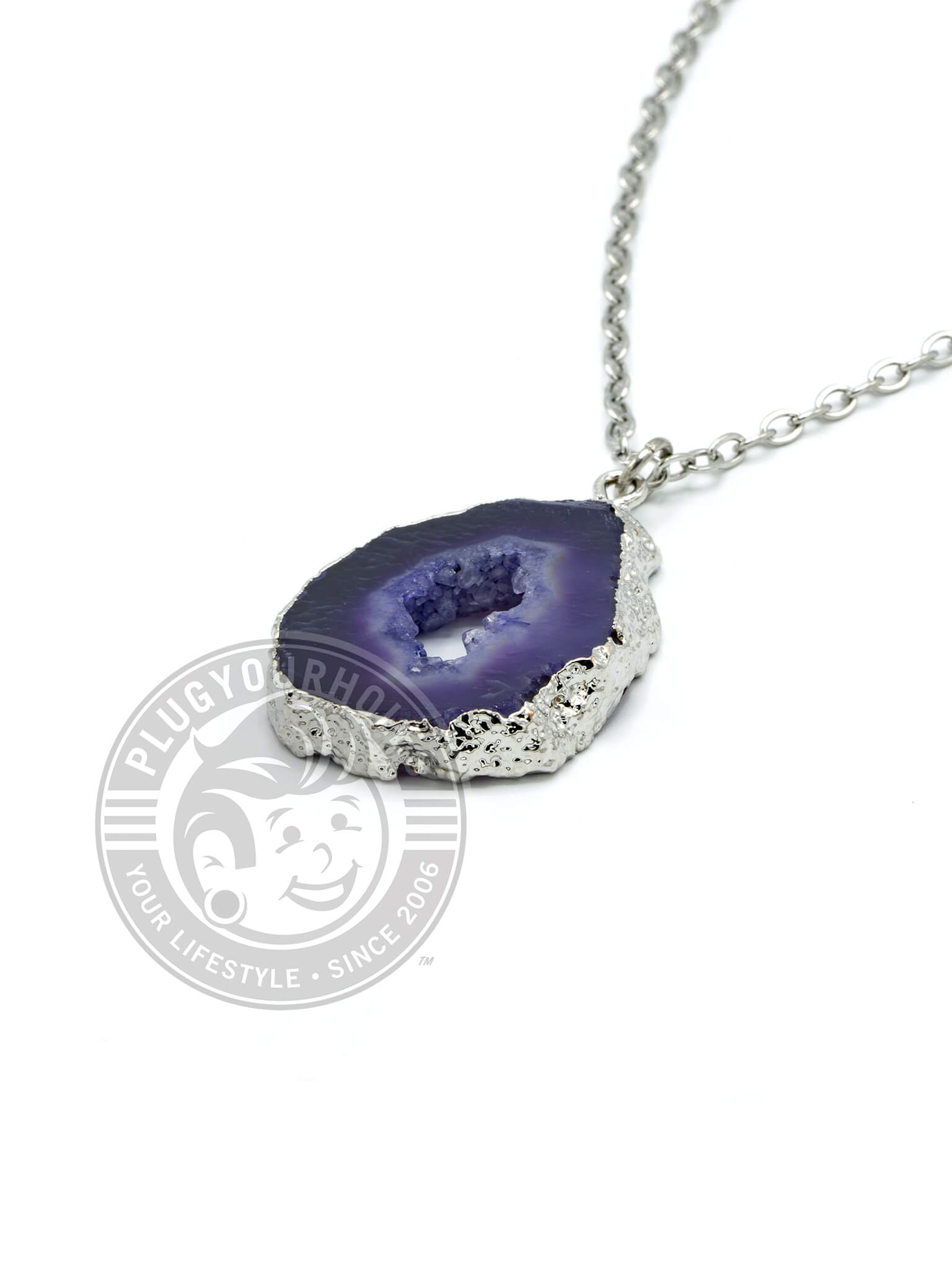 Purple Crystalized Geode Slice Necklace