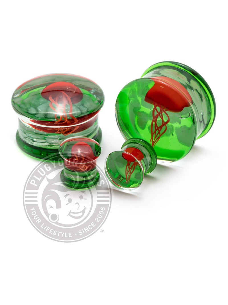 Red Jellyfish Green Pyrex Glass Plugs