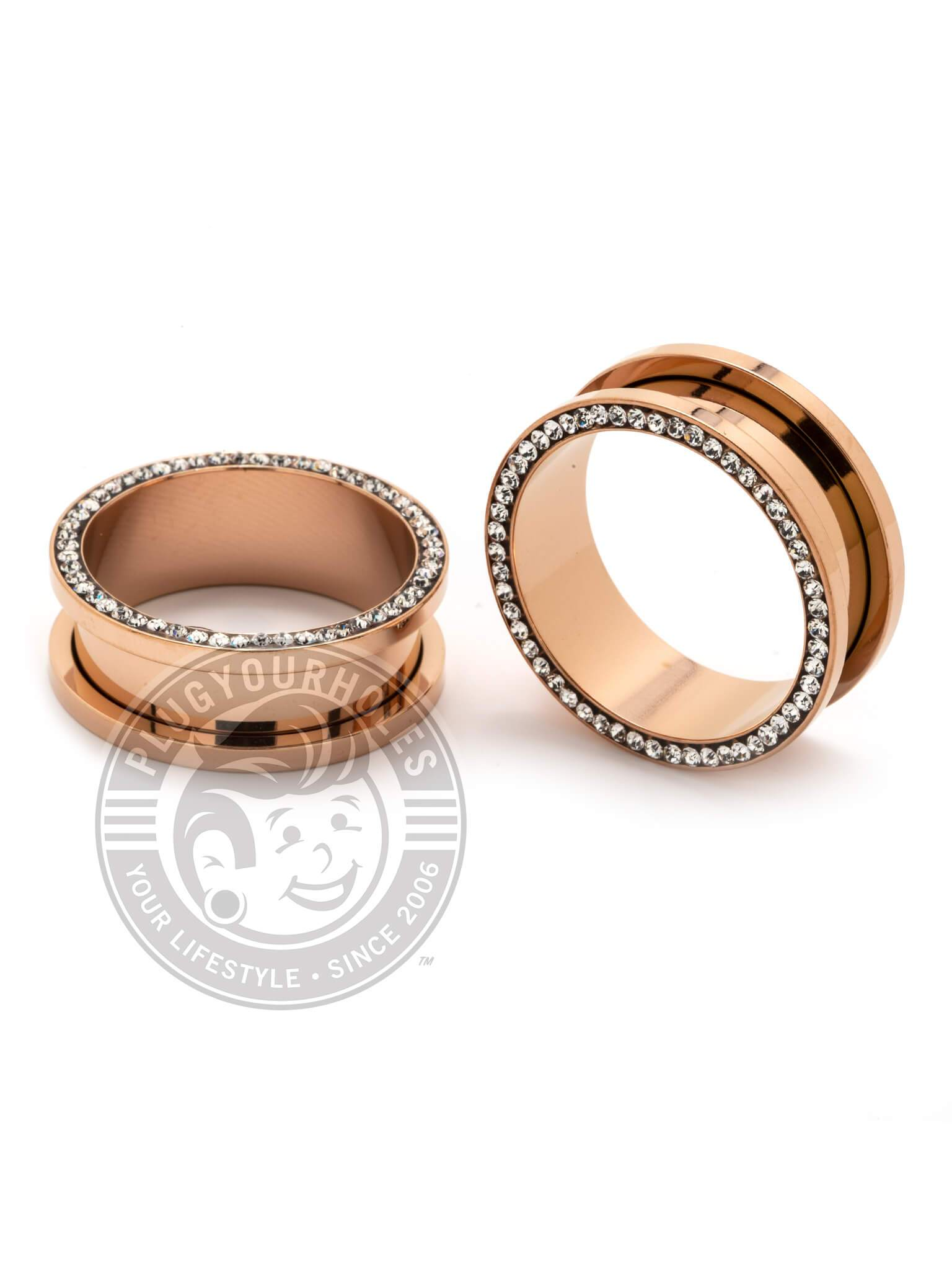 Rose Gold Bling Threaded Steel Tunnels