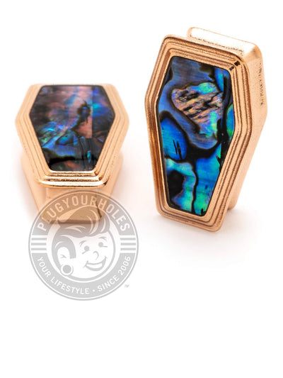 Rose Gold Coffin Abalone Inlay Steel Plugs