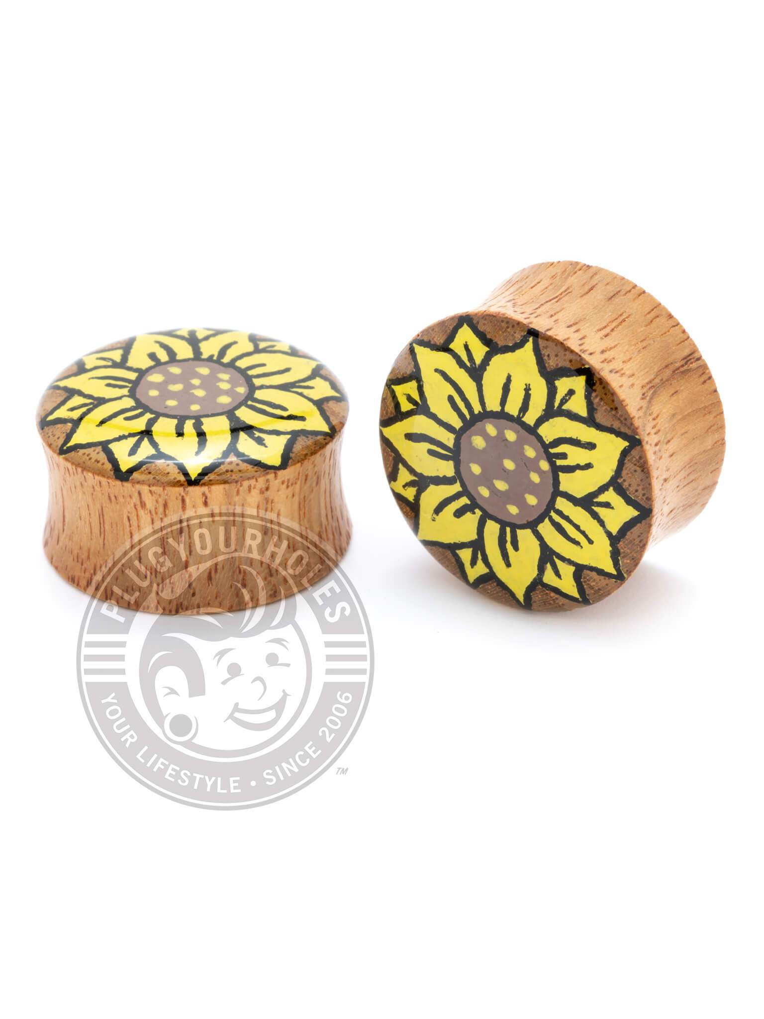 Sunflower Hand-Painted Wood Plugs :: LIMITED PRODUCTION