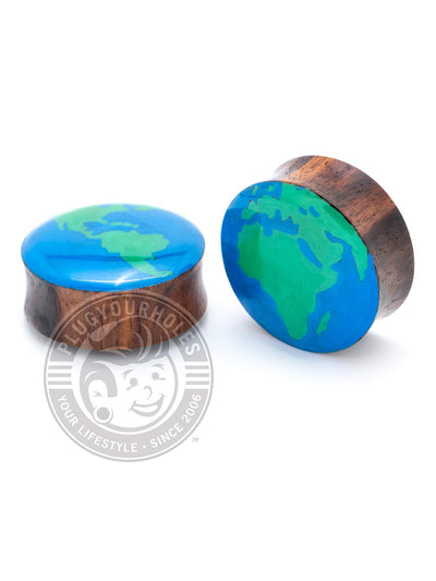 THE EARTH Hand-Painted Wood Plugs :: LIMITED PRODUCTION
