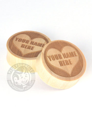 Custom Sweetheart Engraved Wood Plugs - Plug Your Holes - Your Lifestyle, Since 2006.  - 1