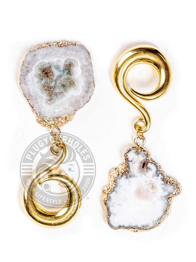 White Geode Slice Gold Curled Hook Hangers