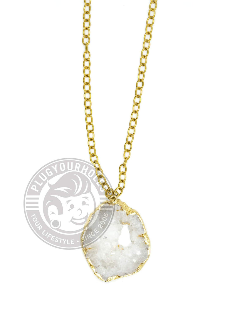 White Crystalized Geode Slice Necklace