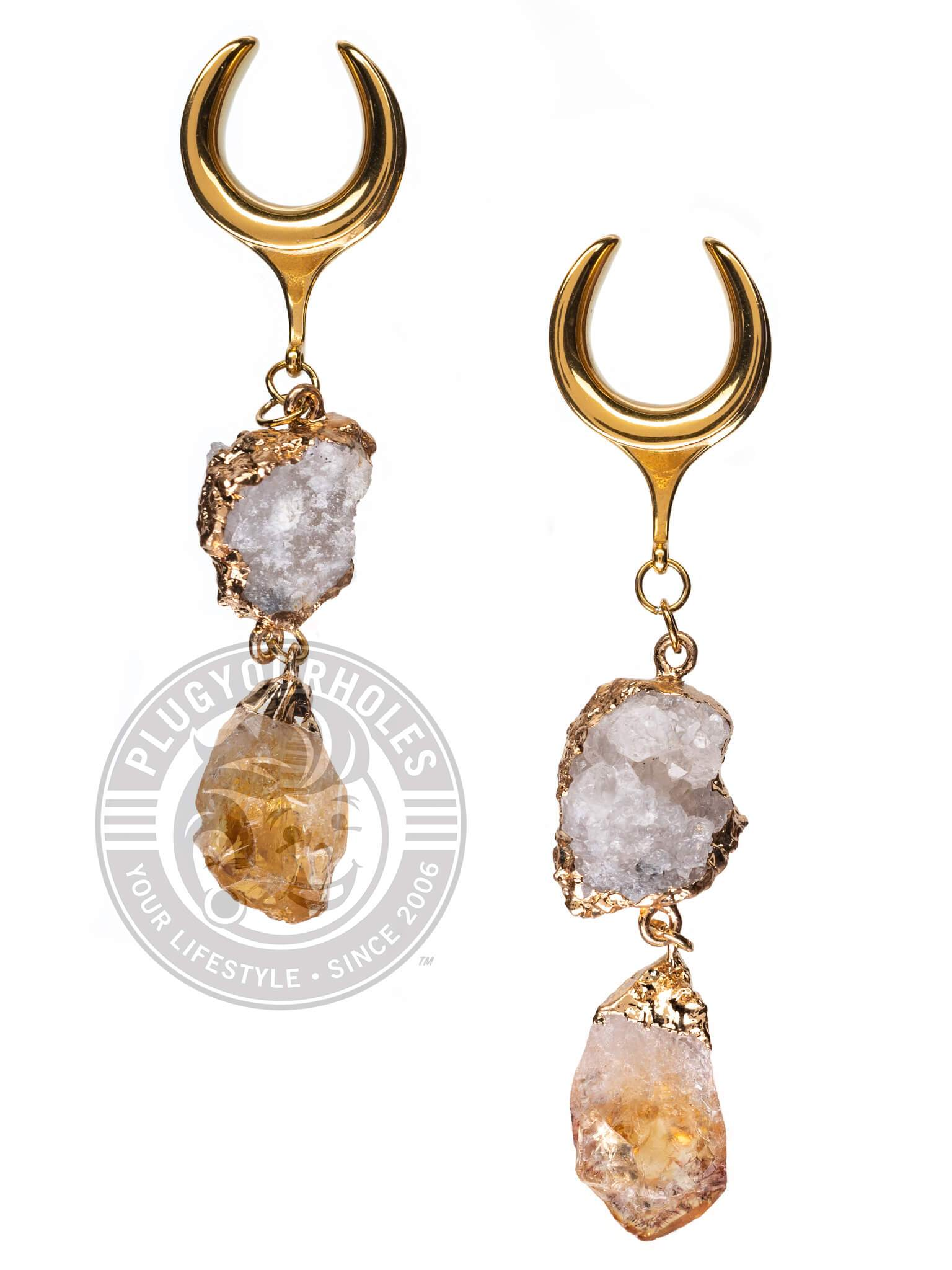 White & Amber Stone Dangle Gold Steel Crescent Saddles