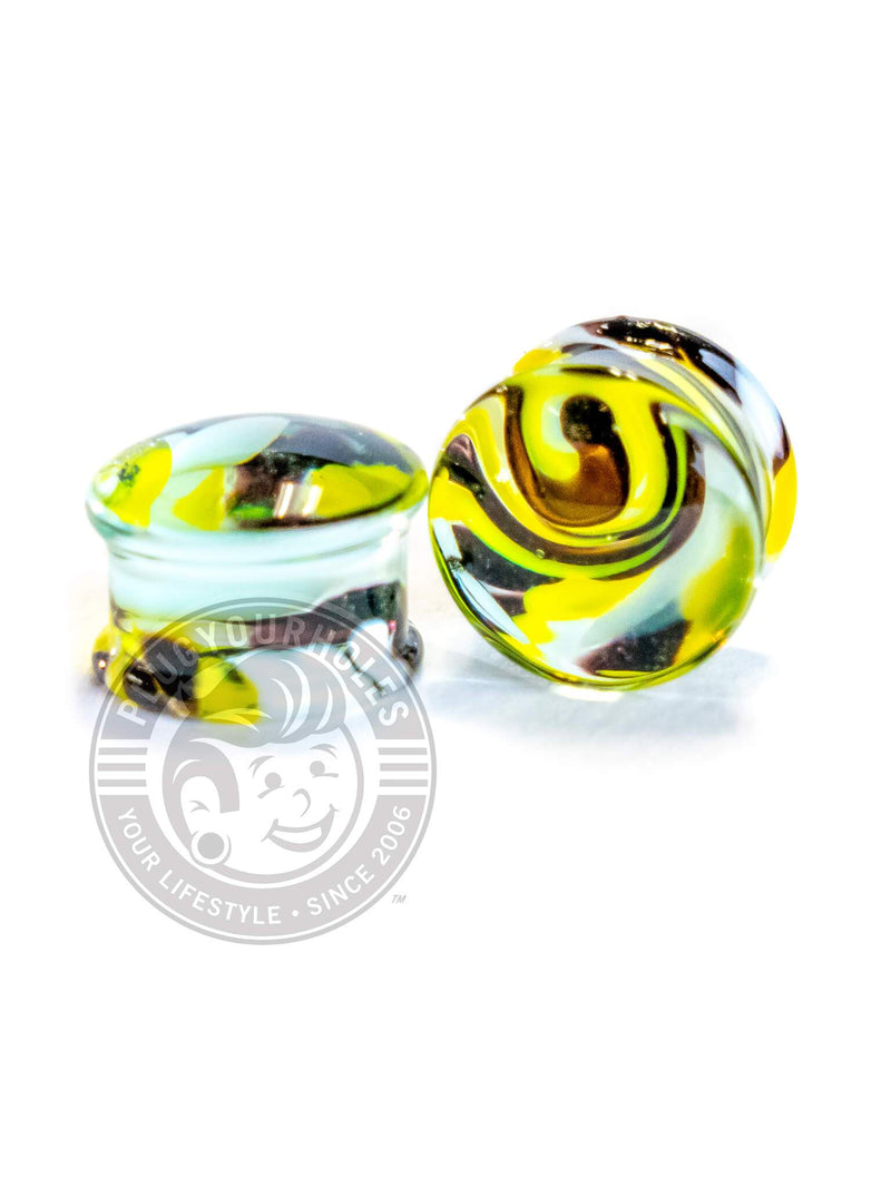Black and Yellow Swirl Pyrex Glass Plugs