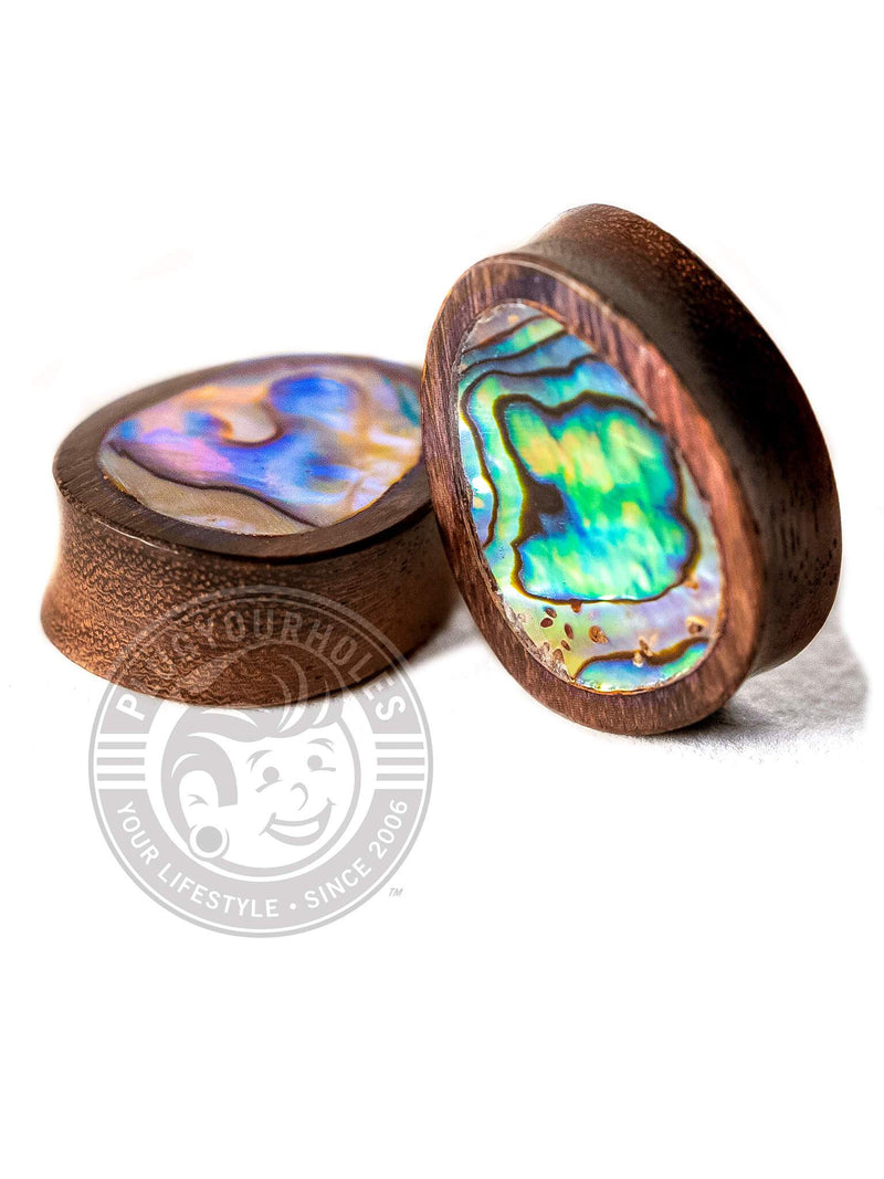 Abalone Inlay Teardrop Sono Wood Plugs