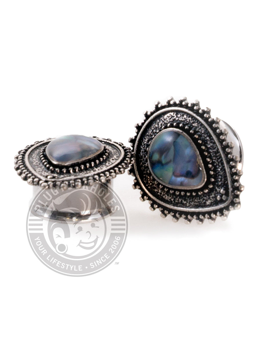 Tear Drop Abalone Center Double Flared Steel Plugs - Plugyourholes.com
