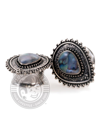Tear Drop Abalone Center Double Flared Steel Plugs