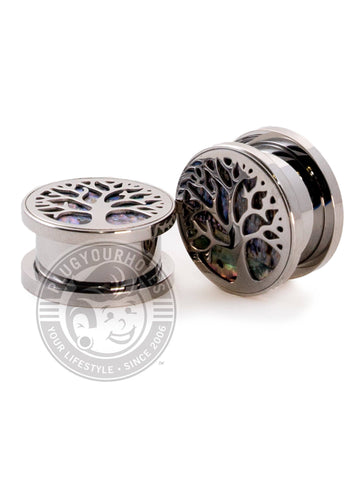 Tree Of Life Abalone Inlayed Threaded Steel Plugs - Plugyourholes.com