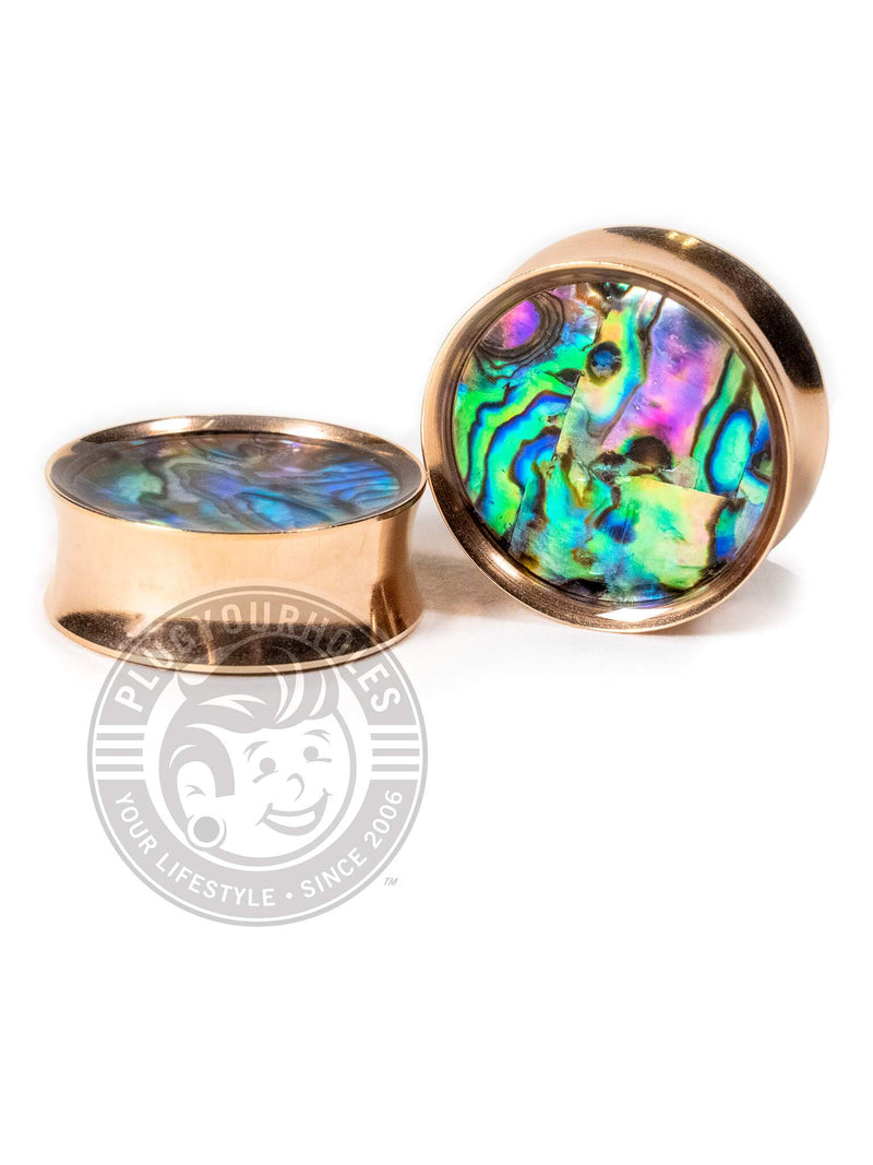 Rose Gold Abalone Inlay Double Flared Saddle Steel Plugs
