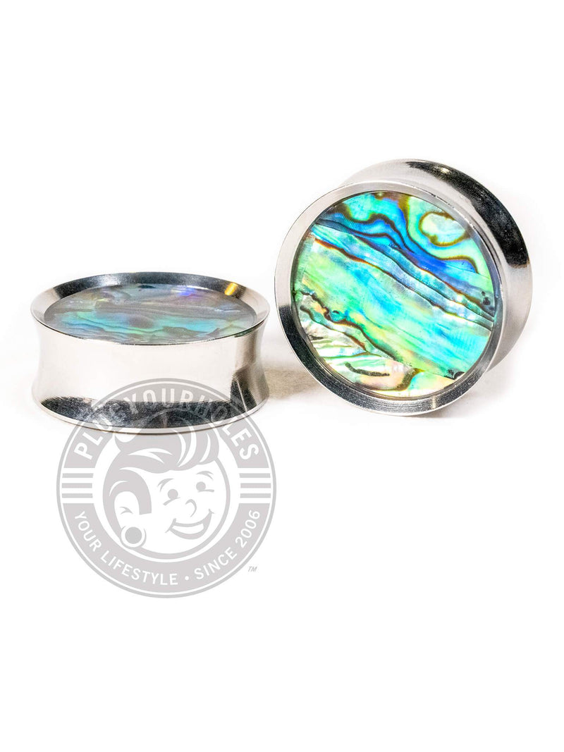 Abalone Inlay Double Flared Saddle Steel Plugs
