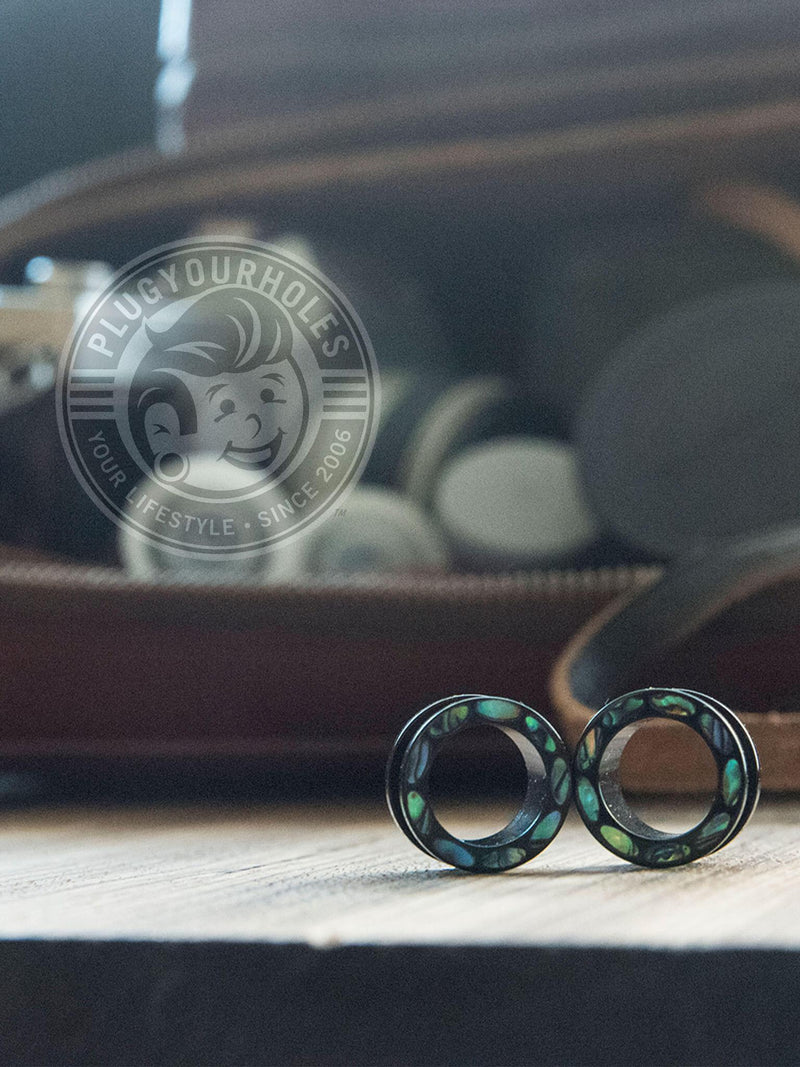 Abalone Dotted Rim Threaded Acrylic Tunnels