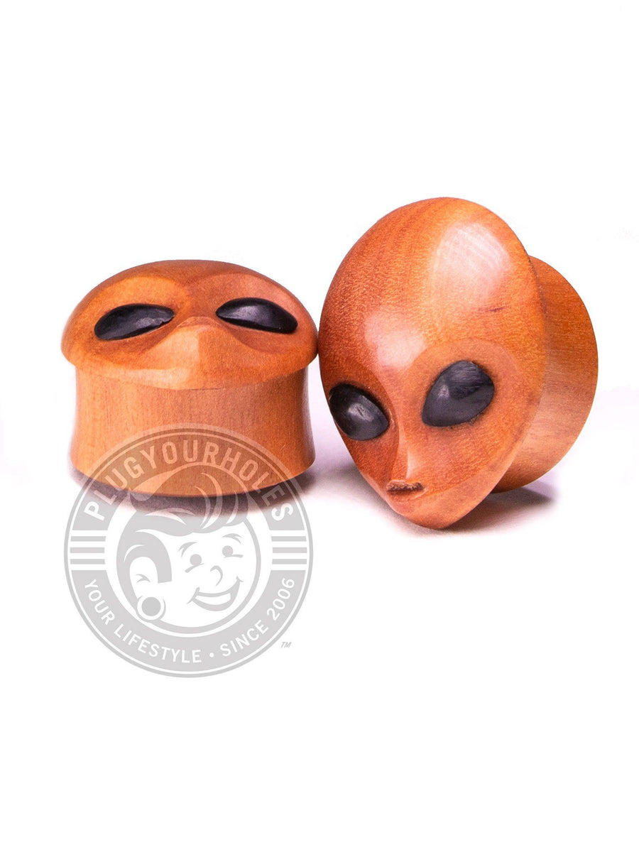 Alien Carved Sawo Wood Plugs