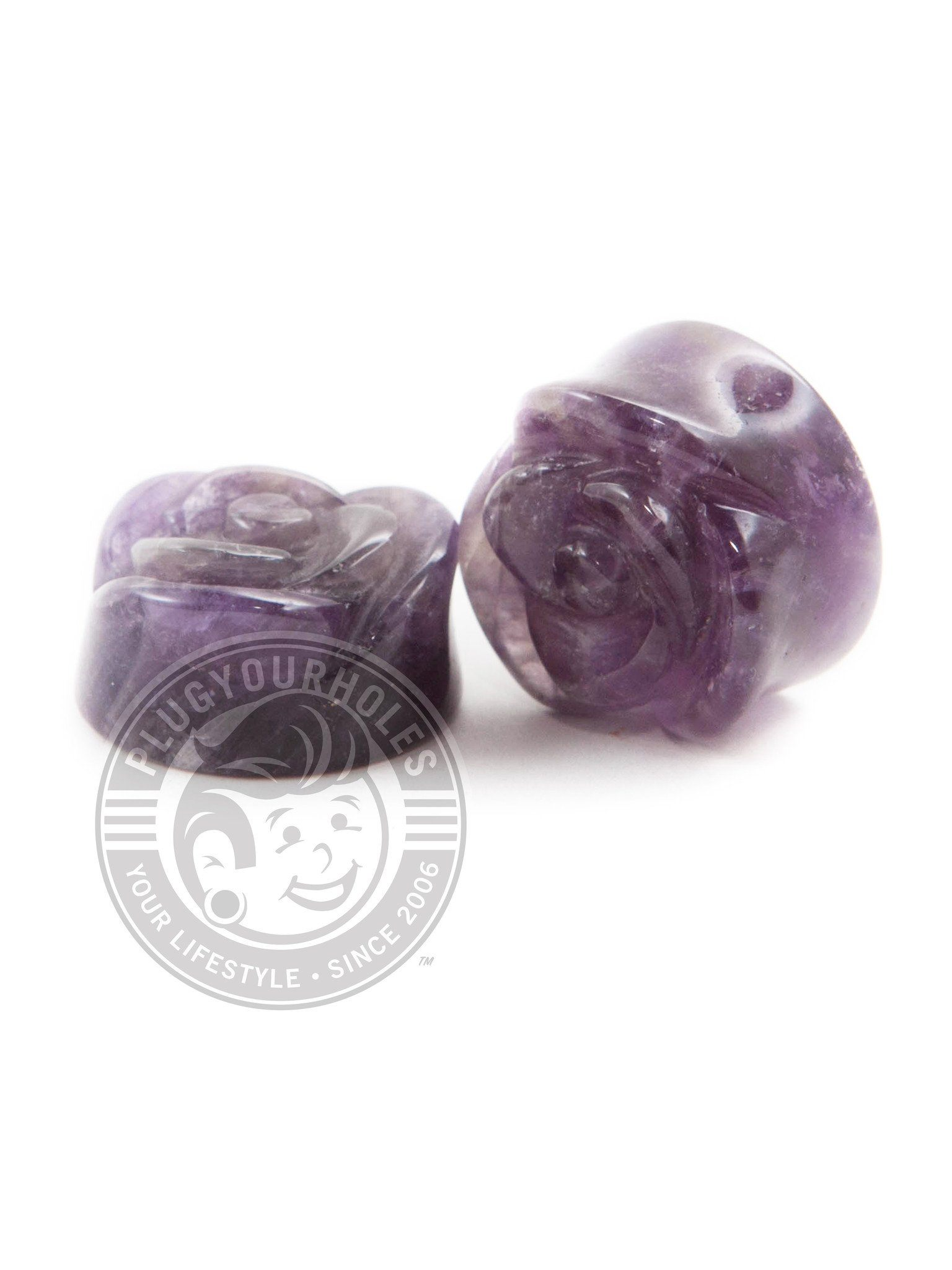 Amethyst Rose Cut Stone Plugs