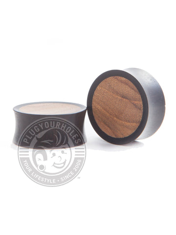 Areng Teak Inlayed Concave Wood Plugs - Plugyourholes.com