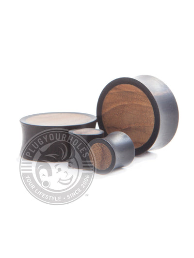 Areng Teak Inlayed Concave Wood Plugs