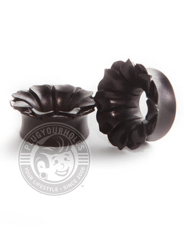 Areng Flower Carved Wood Tunnels - Plugyourholes.com