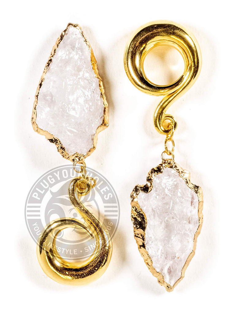 Clear Stone Arrowhead Gold Curled Hook Hangers
