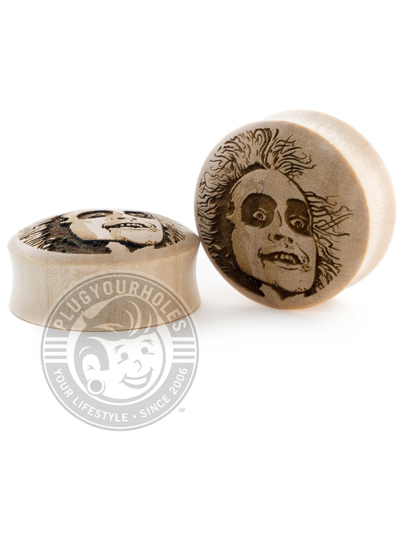 Beetlejuice - Engraved Wood Plugs