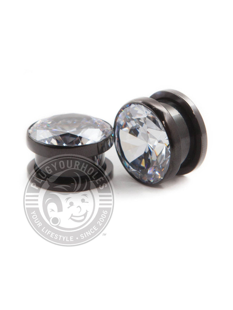 Big Bling Black Threaded Steel Plugs - Plugyourholes.com