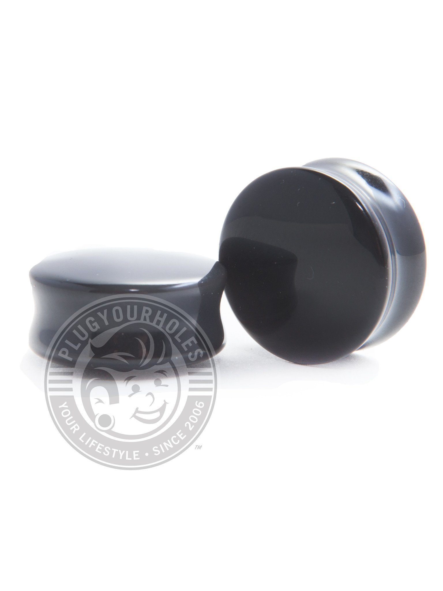 Black Agate Convex Plugs