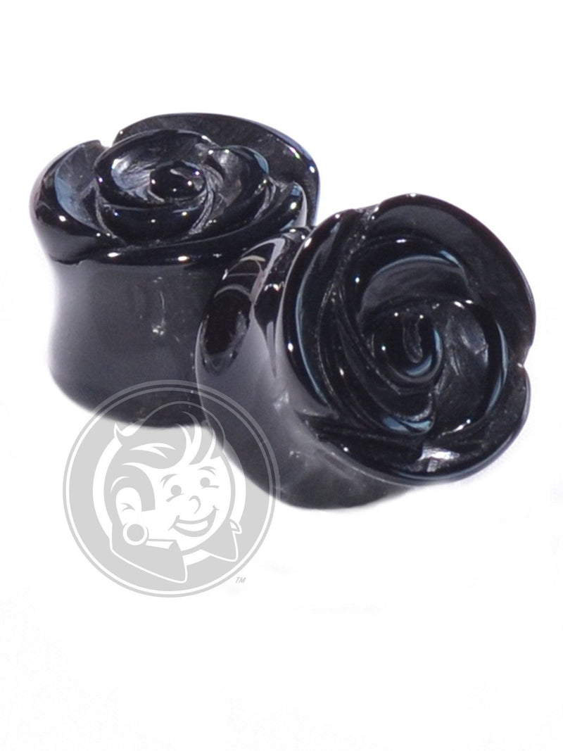 Black Agate Rose Cut Stone Plugs