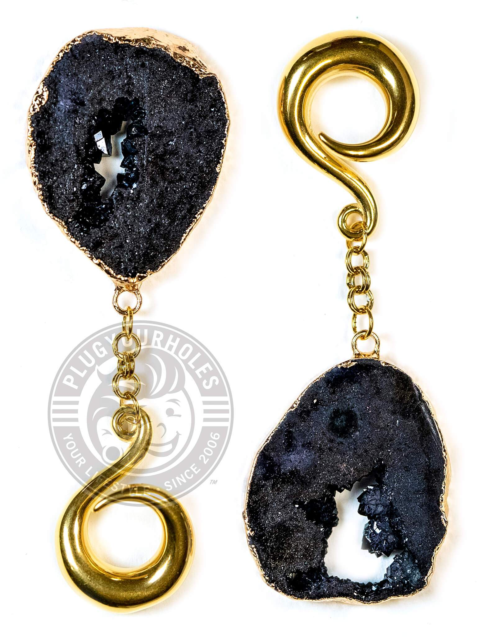 Black Crystalized Geode Slice Gold Curled Hook Hangers