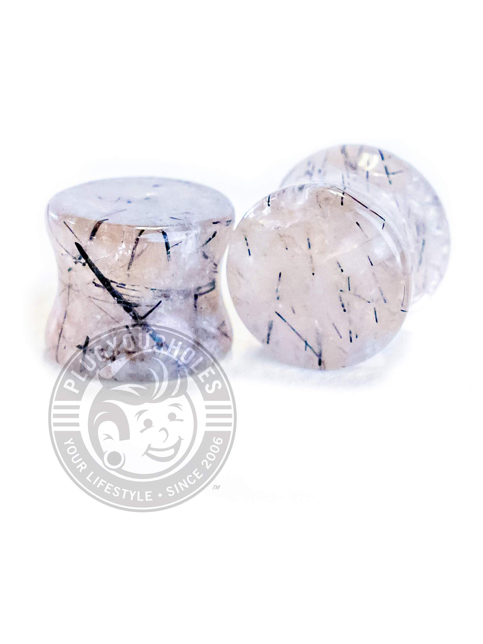Black Rutilated Clear Quartz Stone Plugs