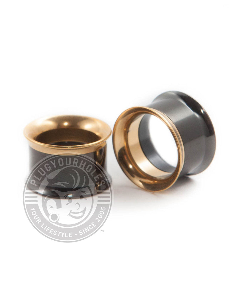 Black and Gold Internally Threaded Steel Tunnels - Plugyourholes.com