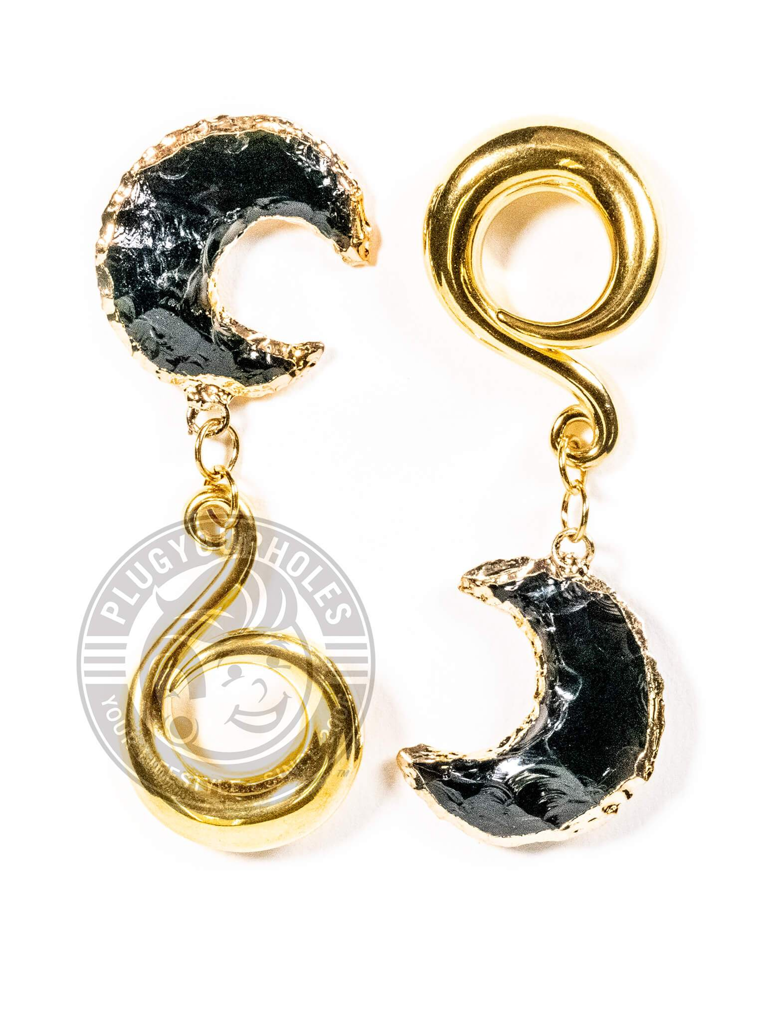 Black Stone Crescent Moon Gold Curled Hook Hangers