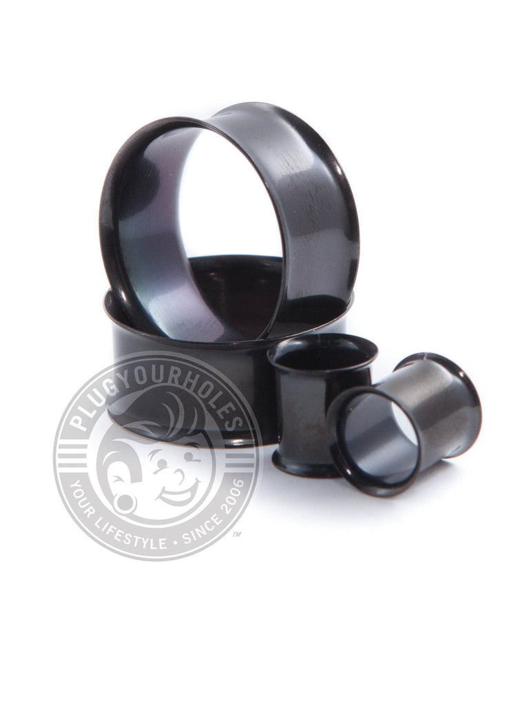 Black Double Flared Steel Tunnels - Plugyourholes.com