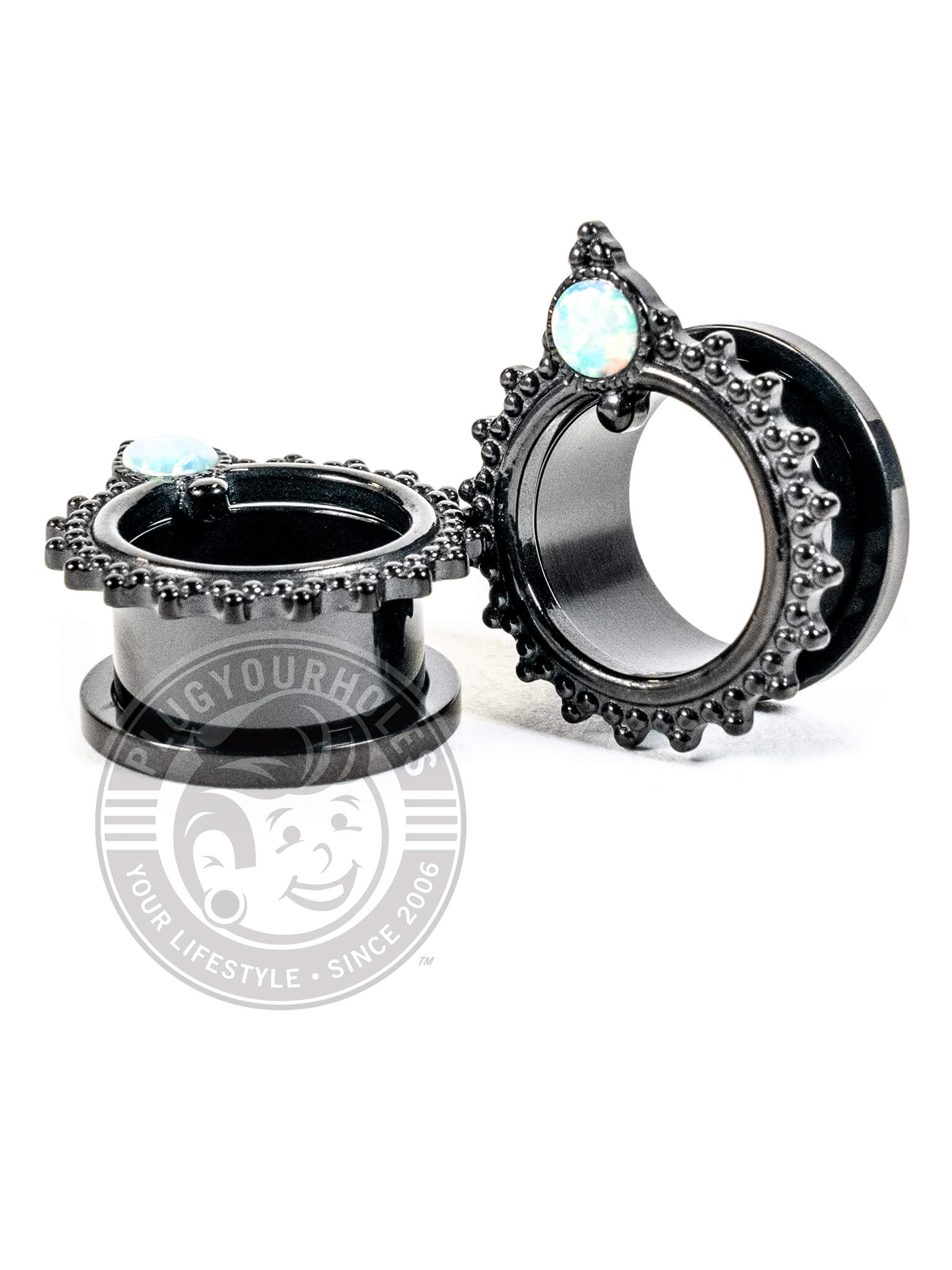 Black Beaded Single Prong Opalite Threaded Tunnels
