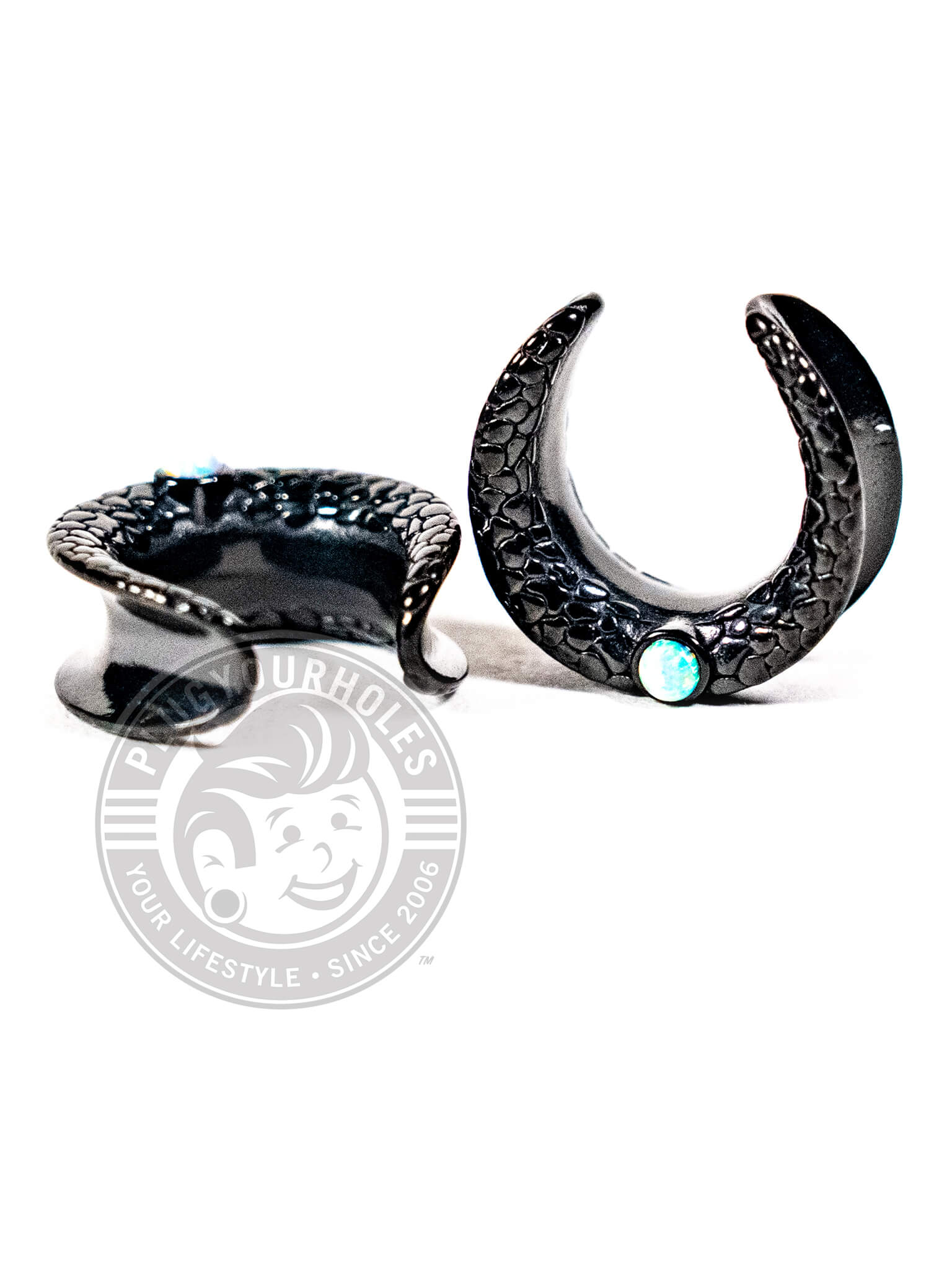Black Snake Skin Opalite Crescent Steel Saddles