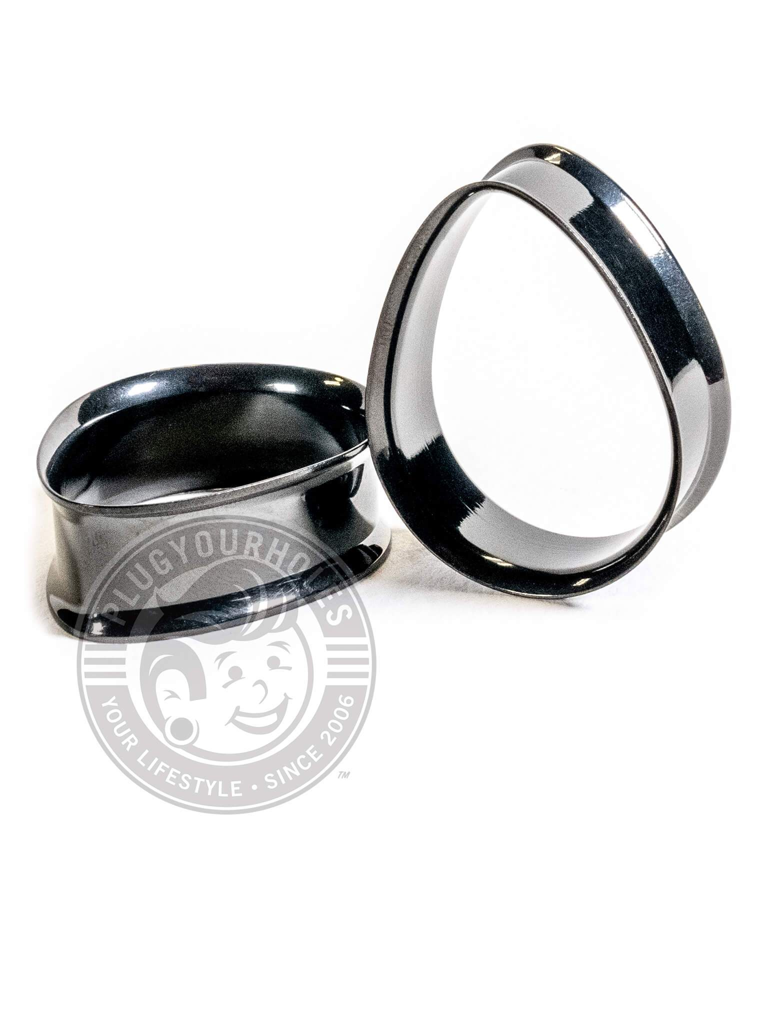 Black Double Flared Teardrop Steel Tunnels