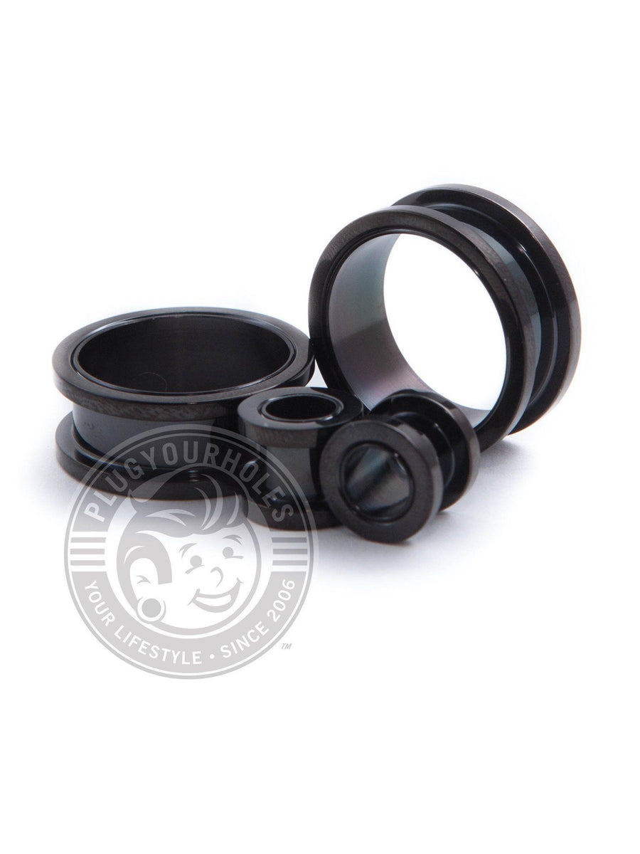 Black Threaded Steel Tunnels - Plugyourholes.com
