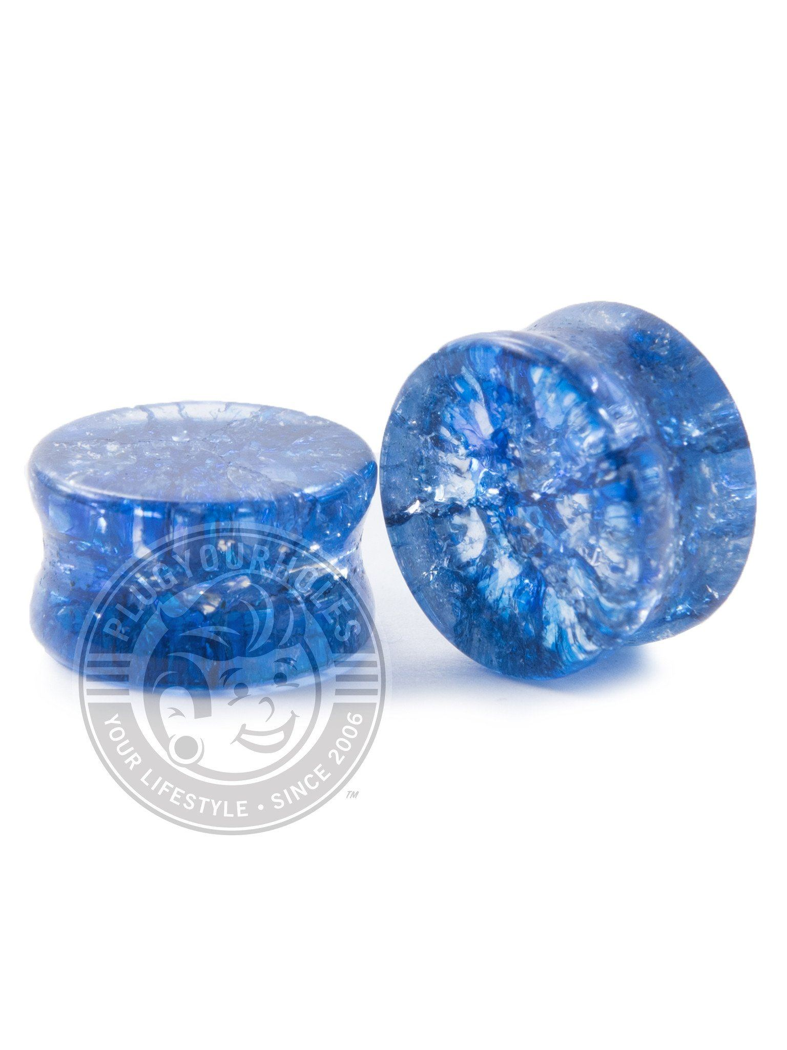 Blue Shattered Glass Plugs