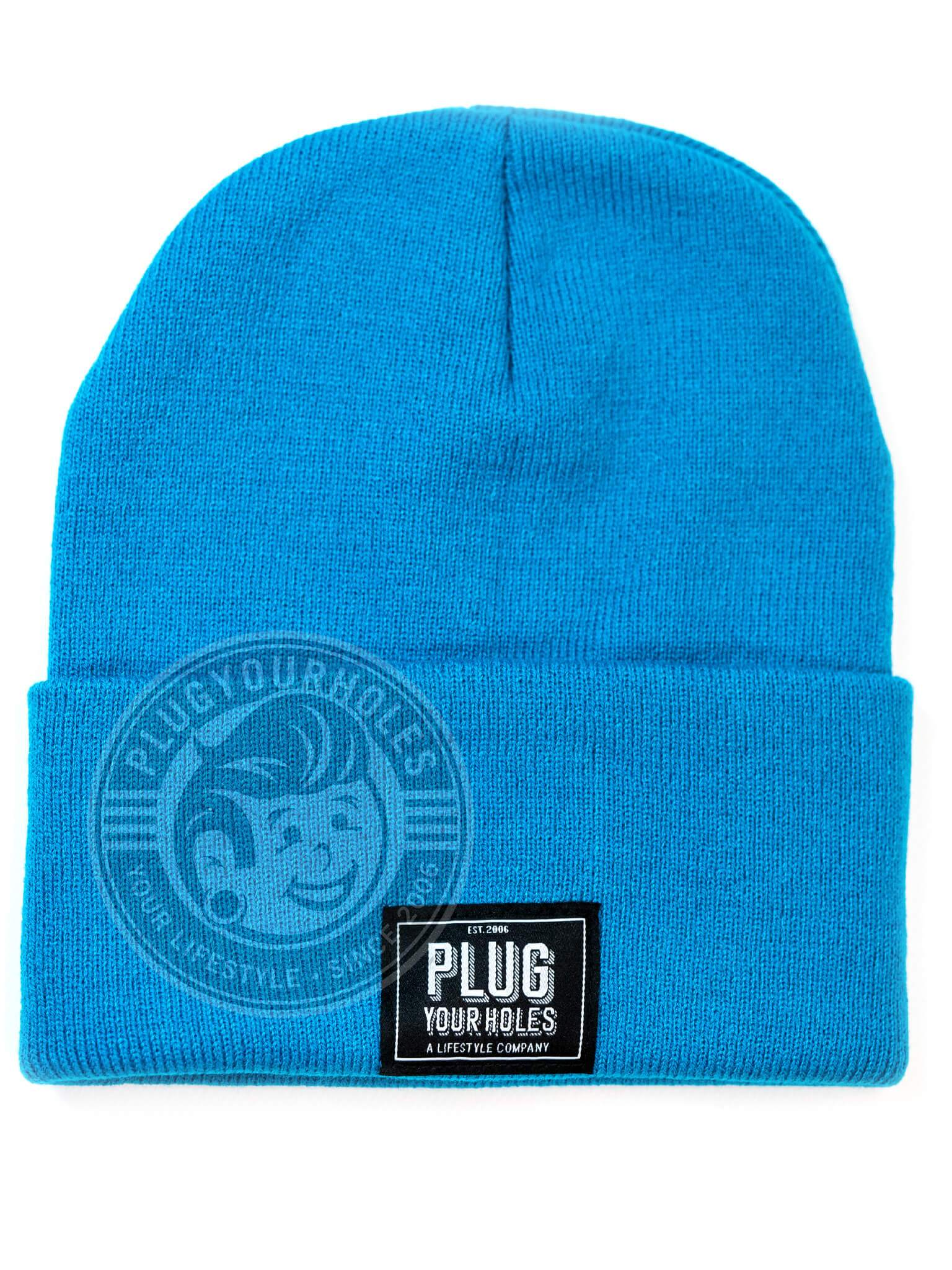 Plug Your Holes Monoco Blue Knit Beanie
