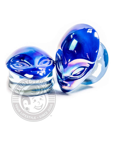 Blue Alien Head Pyrex Glass Plugs