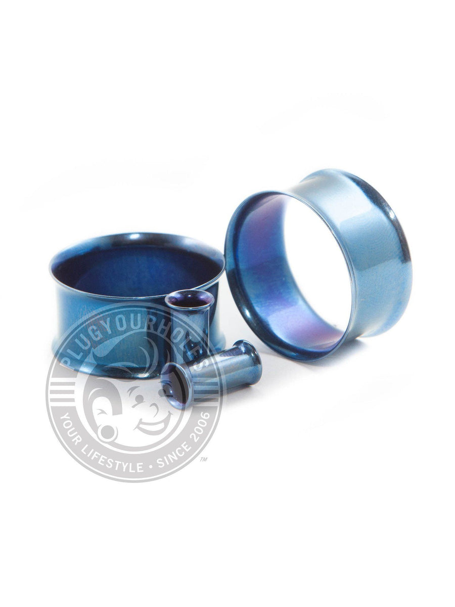 Blue Double Flared Steel Tunnels - Plugyourholes.com