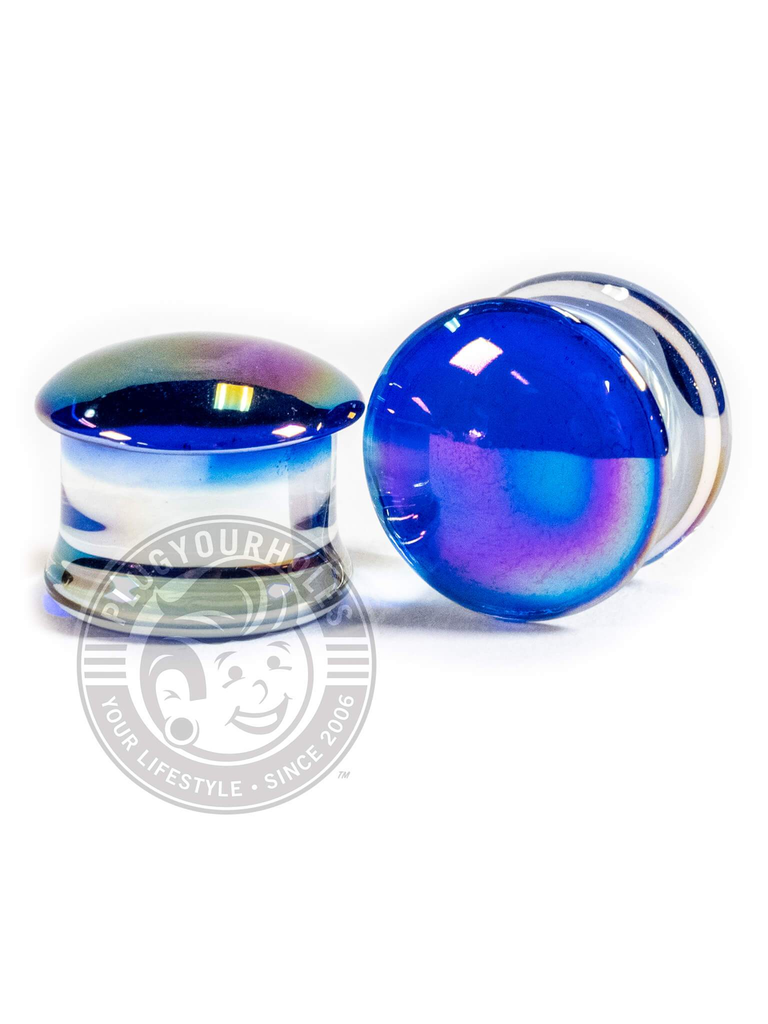 Blue Aurora Double Flared Glass Plugs