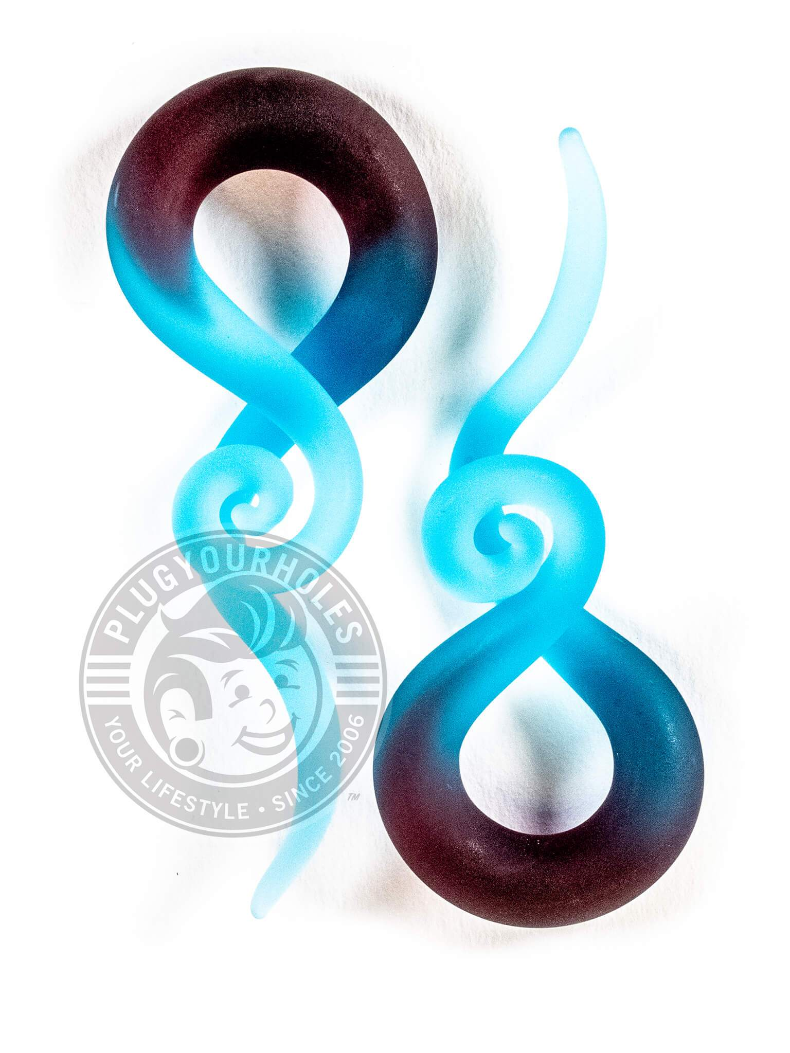 Blue and Maroon Snake Curl Glass Hangers