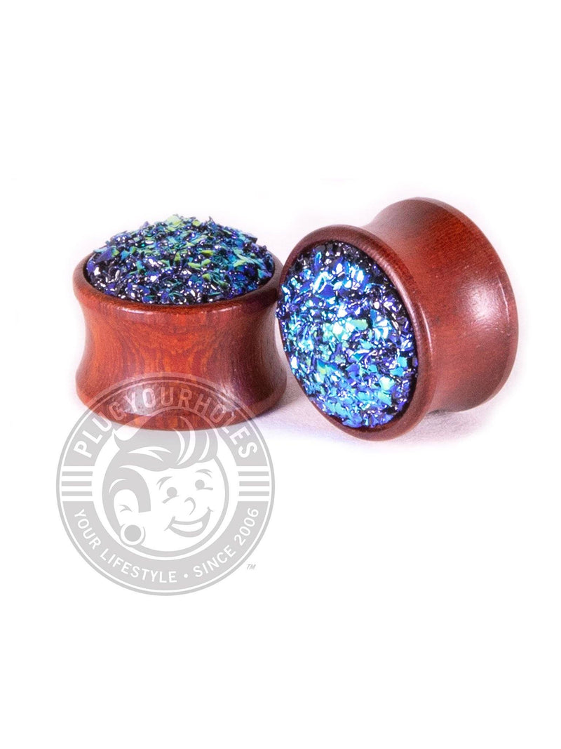 Blue Dragon Egg Stone Inlay Wood Plugs