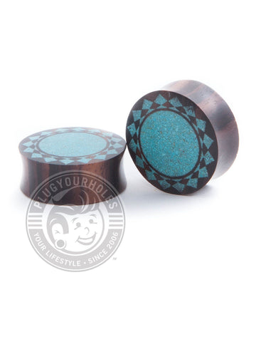 Crushed Turquoise Tribal Sun Sono Wood Plugs - Plugyourholes.com